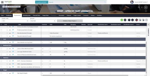 Lascom Lime permet de centraliser la gestion de toutes les données liées au développement de produits, comme les exigences du brief marketing.