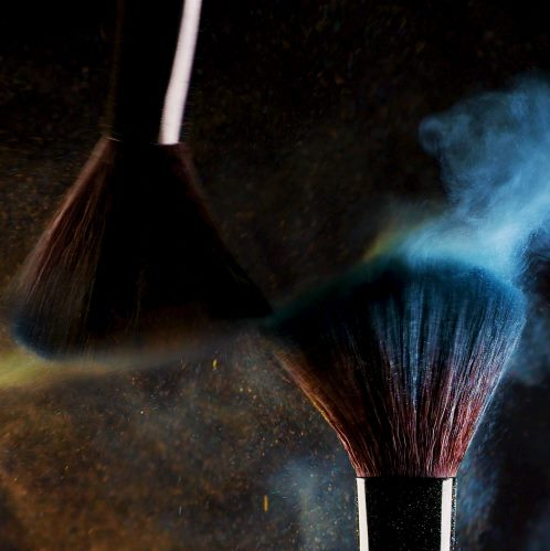 Cosmetic brushes and pigments