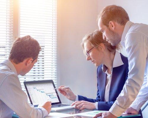 A NPD project management team is reviewing a Gantt chart.