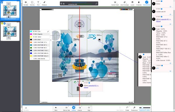 Screenshot of the artwork proofing software Dialogue Engine (from Dalim Software) integrated within Lascom Lime's Packaging Development module