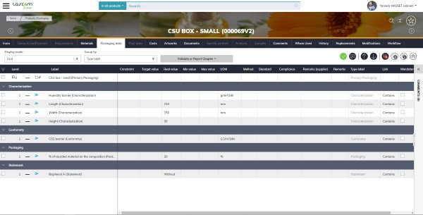 Lascom's packaging information and specification management features